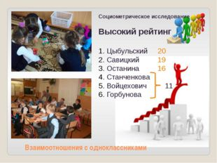 Взаимоотношения с одноклассниками Социометрическое исследование Высокий рейт