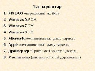 Тақырыптар MS DOS операциялық жүйесі. Windows XP ОЖ Windows 7 ОЖ Windows 8 ОЖ