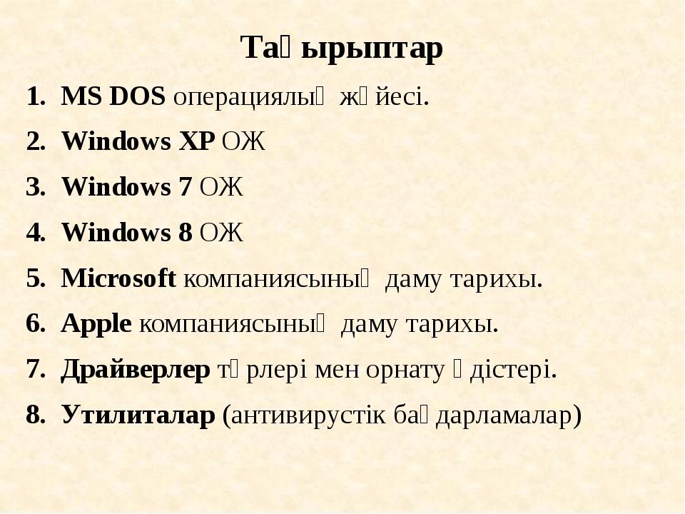 Тақырыптар MS DOS операциялық жүйесі. Windows XP ОЖ Windows 7 ОЖ Windows 8 ОЖ...