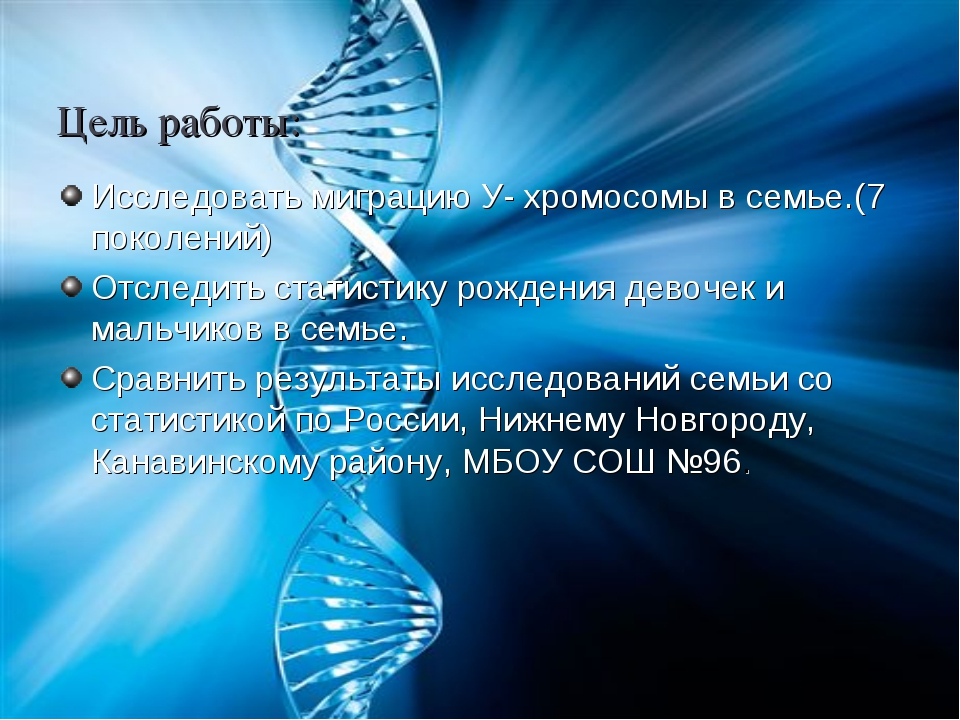 Цель работы: Исследовать миграцию У- хромосомы в семье.(7 поколений) Отследит...