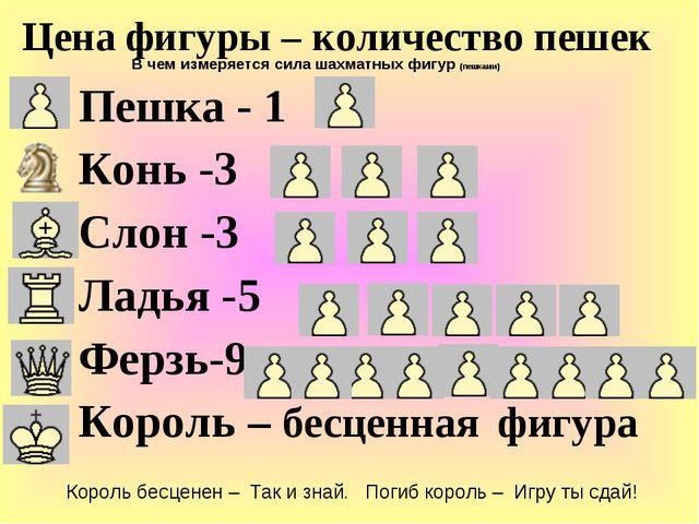 Пешка - 1 Конь -3 Слон -3 Ладья -5 Ферзь-9 Король – бесценная фигура Цена фи...