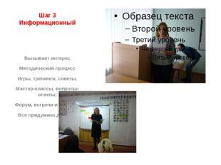 Шаг 3 Информационный Вызывает интерес Методический процесс Игры, тренинги, со