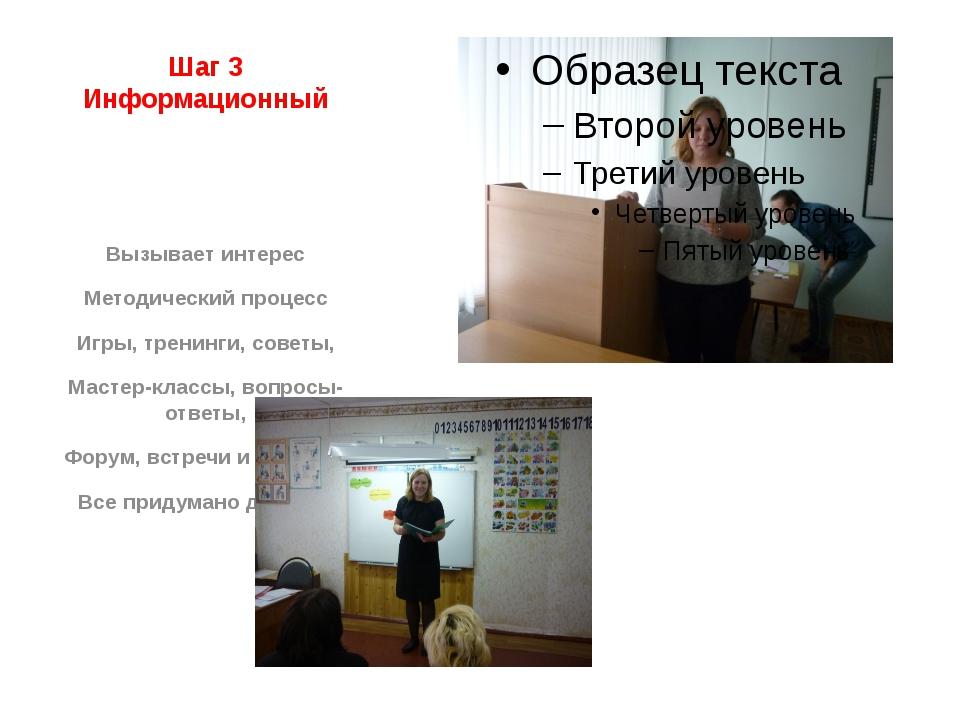 Шаг 3 Информационный Вызывает интерес Методический процесс Игры, тренинги, со...