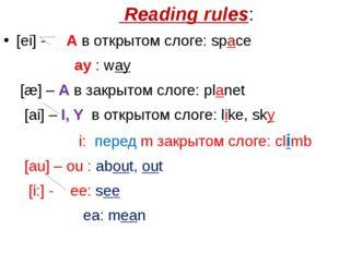 Reading rules: [ei] - A в открытом слоге: space ay : way [æ] – A в закрытом