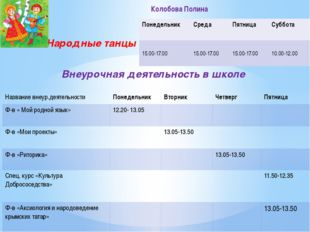 Народные танцы Внеурочная деятельность в школе Колобова Полина Понедельник С
