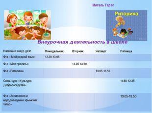 Внеурочная деятельность в школе Мигаль Тарас Названиевнеур.деят. Понедельник