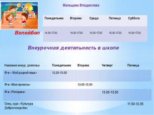 Волейбол Внеурочная деятельность в школе Мальцева Владислава Понедельник Вто
