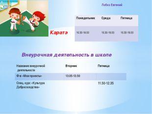 Каратэ Внеурочная деятельность в школе Лобко Евгений Понедельник Среда Пятни