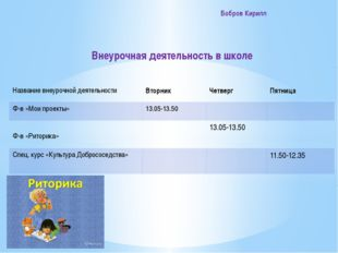 Бобров Кирилл Внеурочная деятельность в школе Название внеурочнойдеятельност