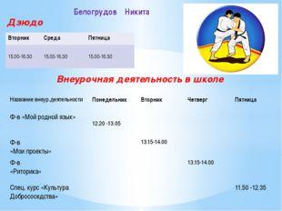 Дзюдо Внеурочная деятельность в школе Белогрудов Никита Вторник Среда Пятница