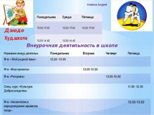 Дзюдо Худ.школа Внеурочная деятельность в школе Новиков Андрей Понедельник С
