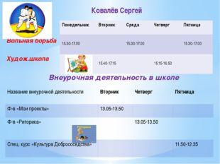 Вольная борьба Худож.школа Внеурочная деятельность в школе Ковалёв Сергей По
