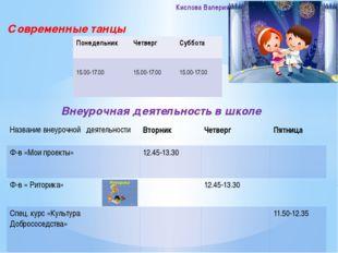 Современные танцы Внеурочная деятельность в школе Кислова Валерия Понедельник