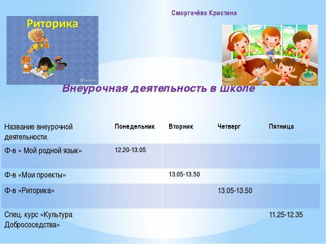 Внеурочная деятельность в школе Сморгачёва Кристина Названиевнеурочнойдеятел...