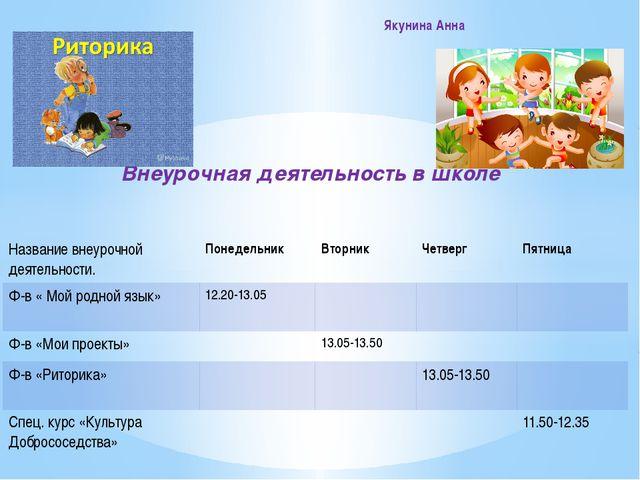 Внеурочная деятельность в школе Якунина Анна Названиевнеурочнойдеятельности....
