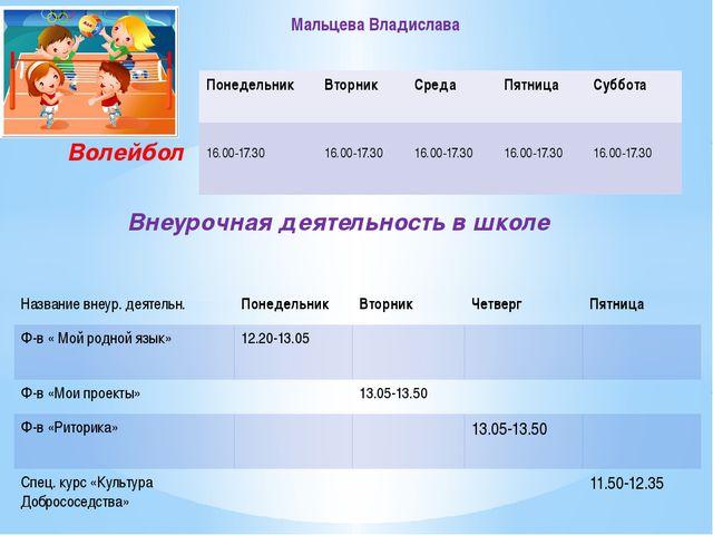 Волейбол Внеурочная деятельность в школе Мальцева Владислава Понедельник Вто...