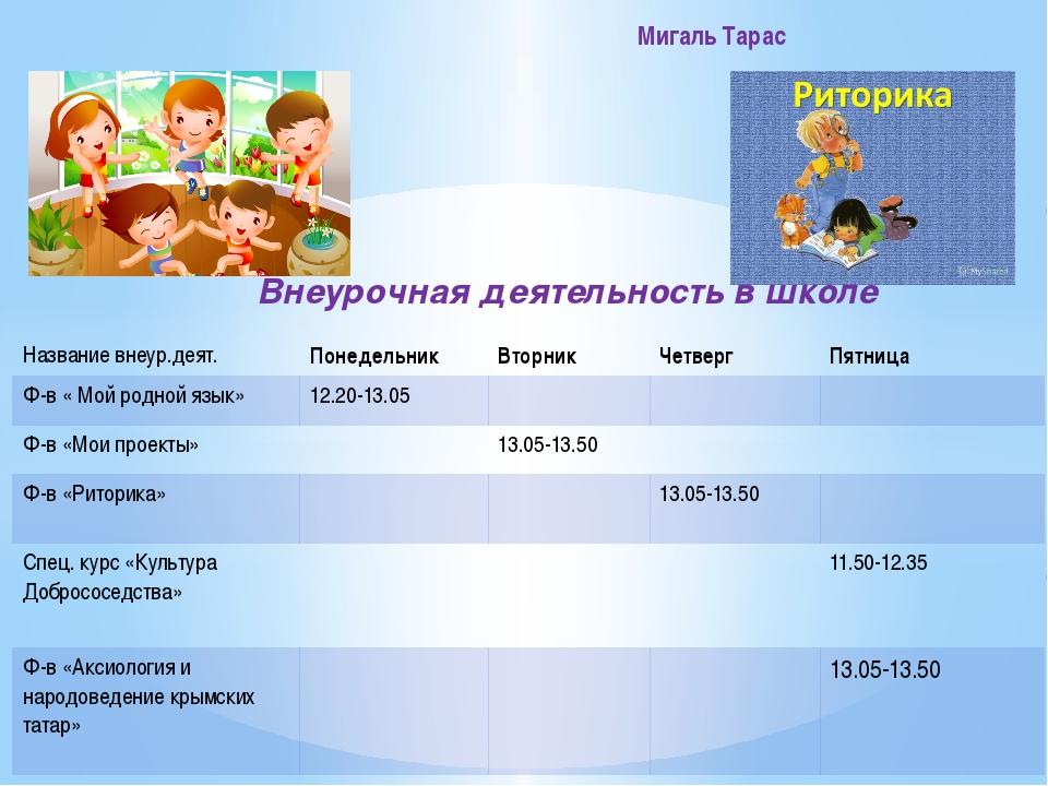 Внеурочная деятельность в школе Мигаль Тарас Названиевнеур.деят. Понедельник...