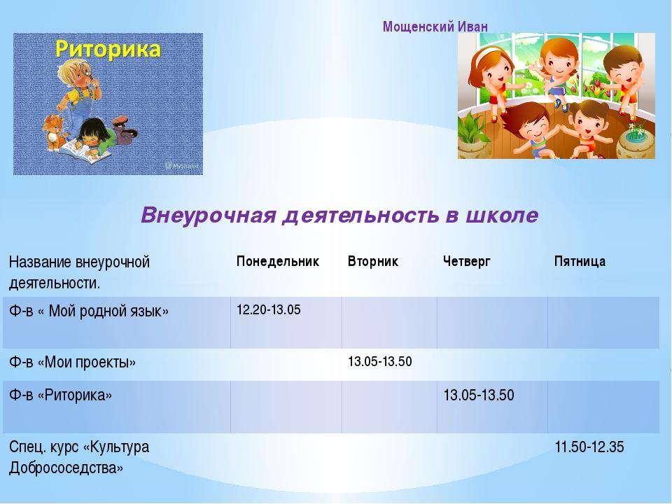 Внеурочная деятельность в школе Мощенский Иван Названиевнеурочнойдеятельност...