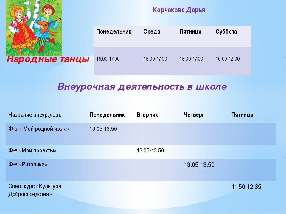 Народные танцы Внеурочная деятельность в школе Корчакова Дарья Понедельник С...
