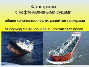 Катастрофы с нефтеналивными судами: общее количество нефти, разлитое танкерам