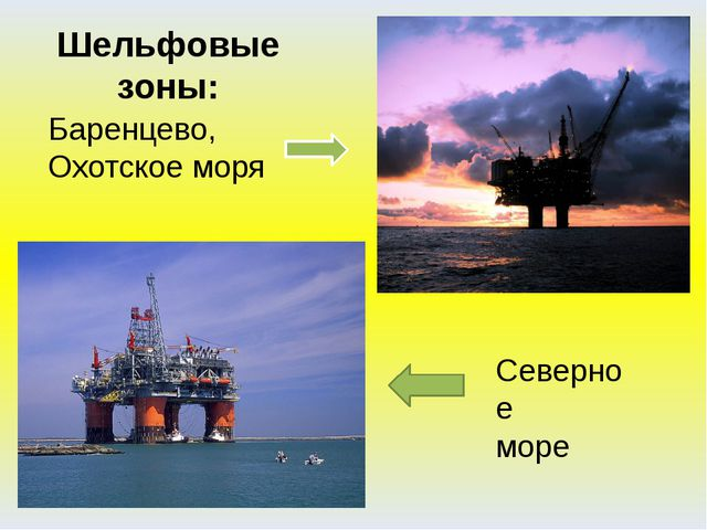 Баренцево, Охотское моря Шельфовые зоны: Северное море В настоящее время осва...