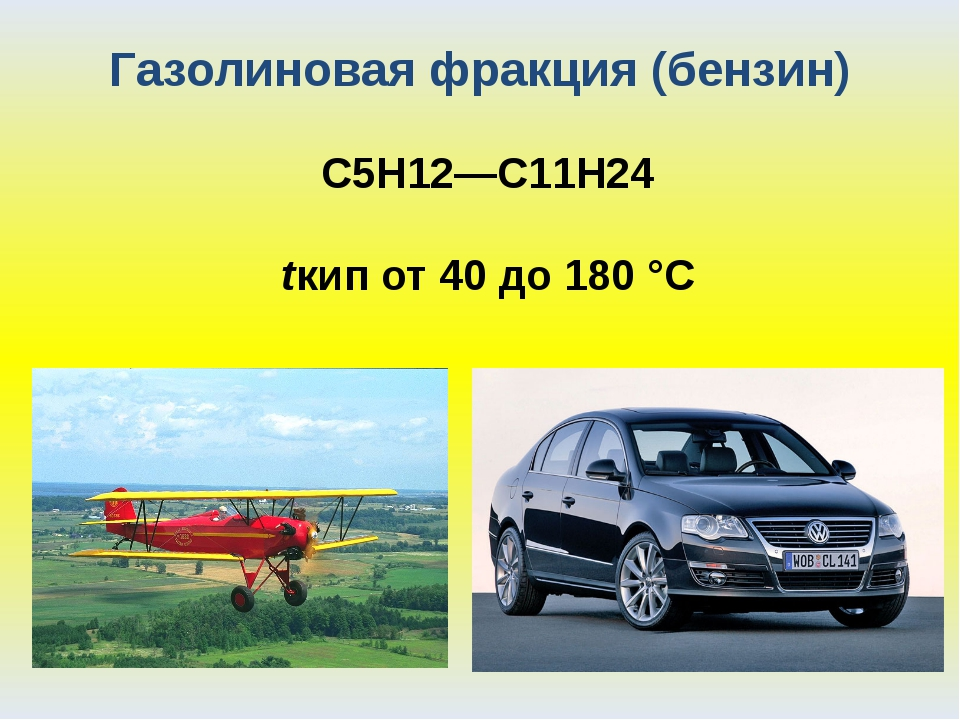 Газолиновая фракция (бензин) С5Н12—С11Н24 tкип от 40 до 180 °С