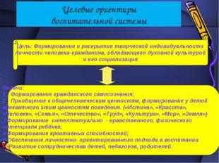 Целевые ориентиры воспитательной системы Цель: Формирование и раскрытие творч