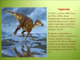 Гадрозавр В 1932 г. в Солт-Лейк-Сити, шт. Юта, США, были обнаружены следы кру