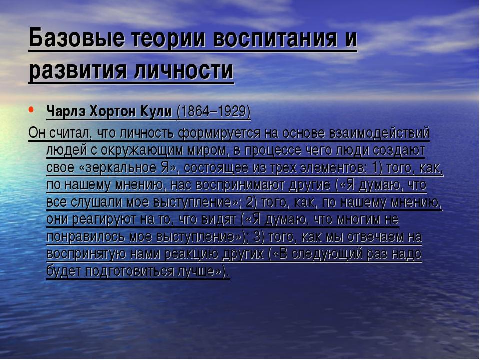 Базовые теории воспитания и развития личности Чарлз Хортон Кули (1864–1929) О...