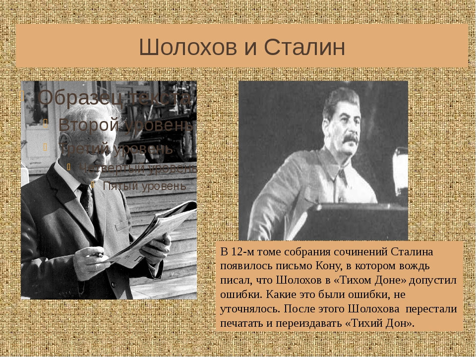 Шолохов и Сталин В 12-м томе собрания сочинений Сталина появилось письмо Кону...