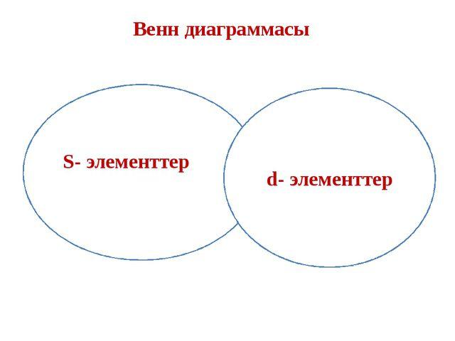 Венн диаграммасы S- элементтер d- элементтер