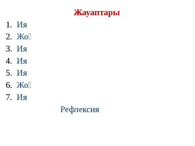Жауаптары Ия Жоқ Ия Ия Ия Жоқ Ия Рефлексия