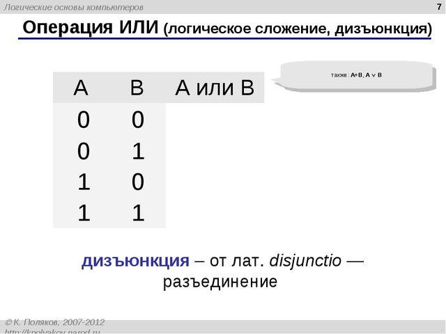 * Операция ИЛИ (логическое сложение, дизъюнкция) также: A+B, A  B дизъюнкция...