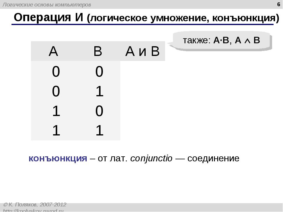 * Операция И (логическое умножение, конъюнкция) также: A·B, A  B конъюнкция...