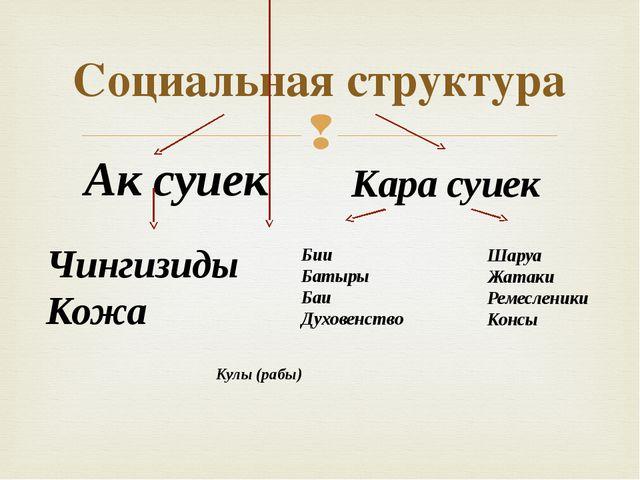 Социальная структура Ак суиек Кара суиек Чингизиды Кожа Бии Батыры Баи Духове...