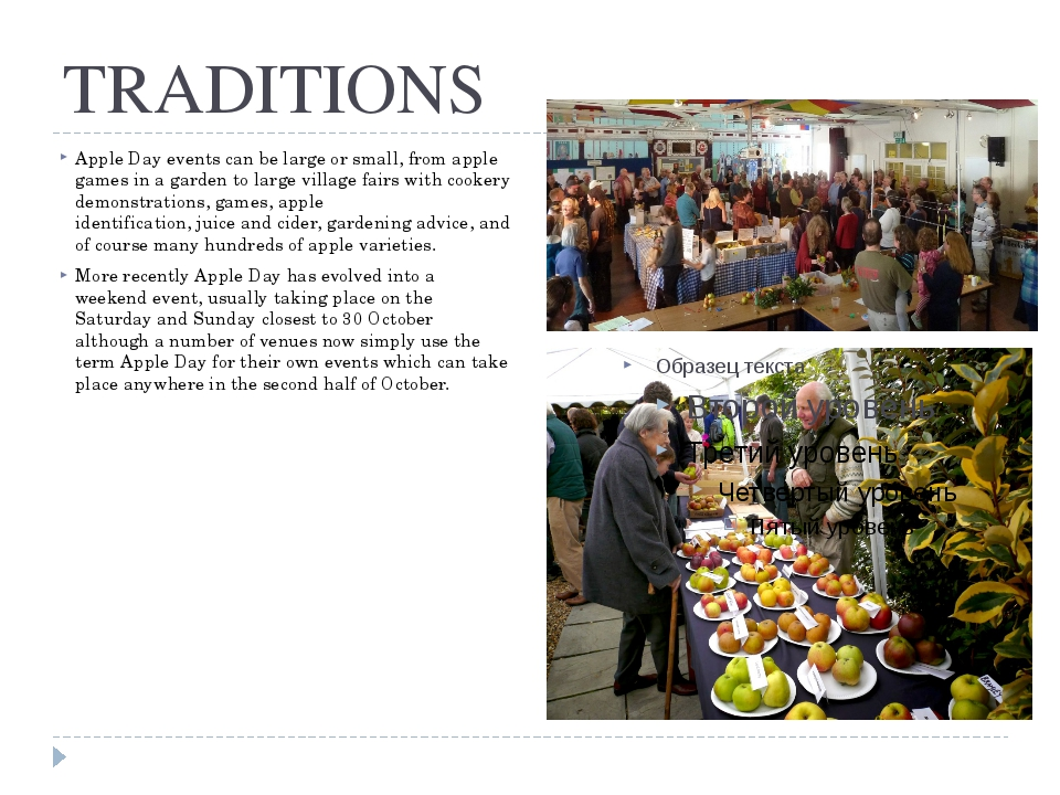 TRADITIONS Apple Day events can be large or small, from apple games in a gard...