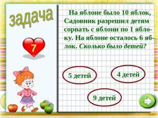 На яблоне было 10 яблок, Садовник разрешил детям сорвать с яблони по 1 ябло-