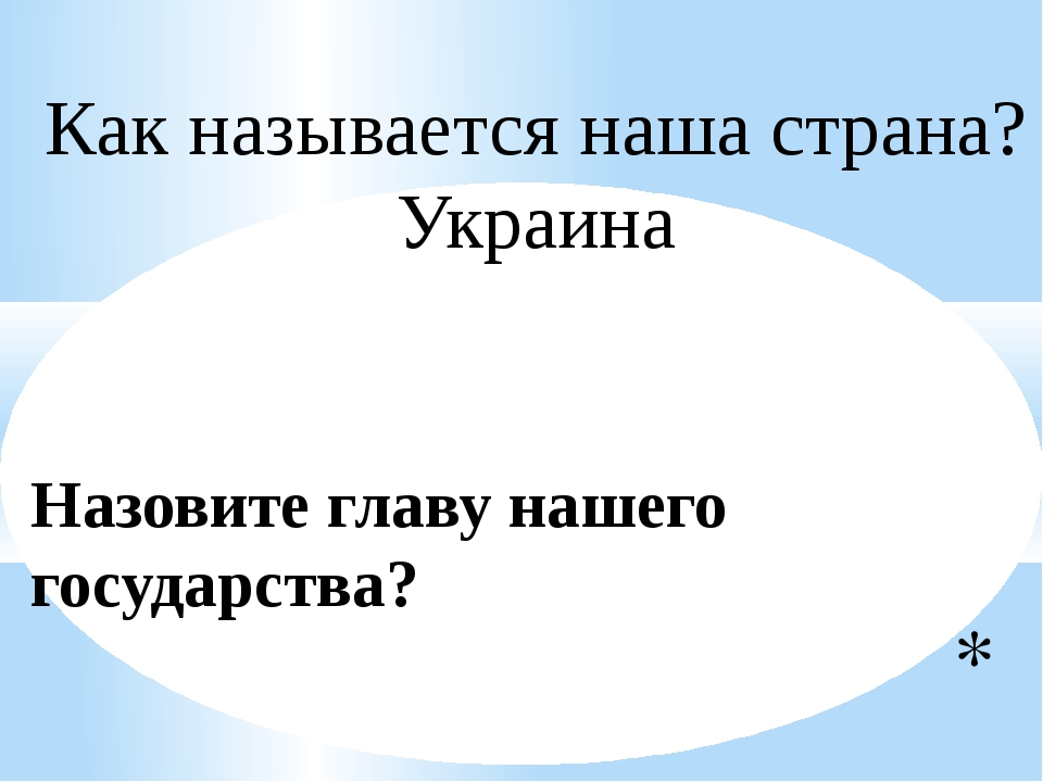 Назовите главу нашего государства? Как называется наша страна? Украина