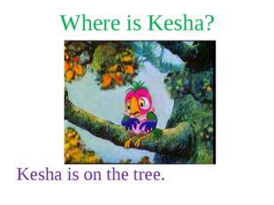 Where is Kesha? Kesha is on the tree.