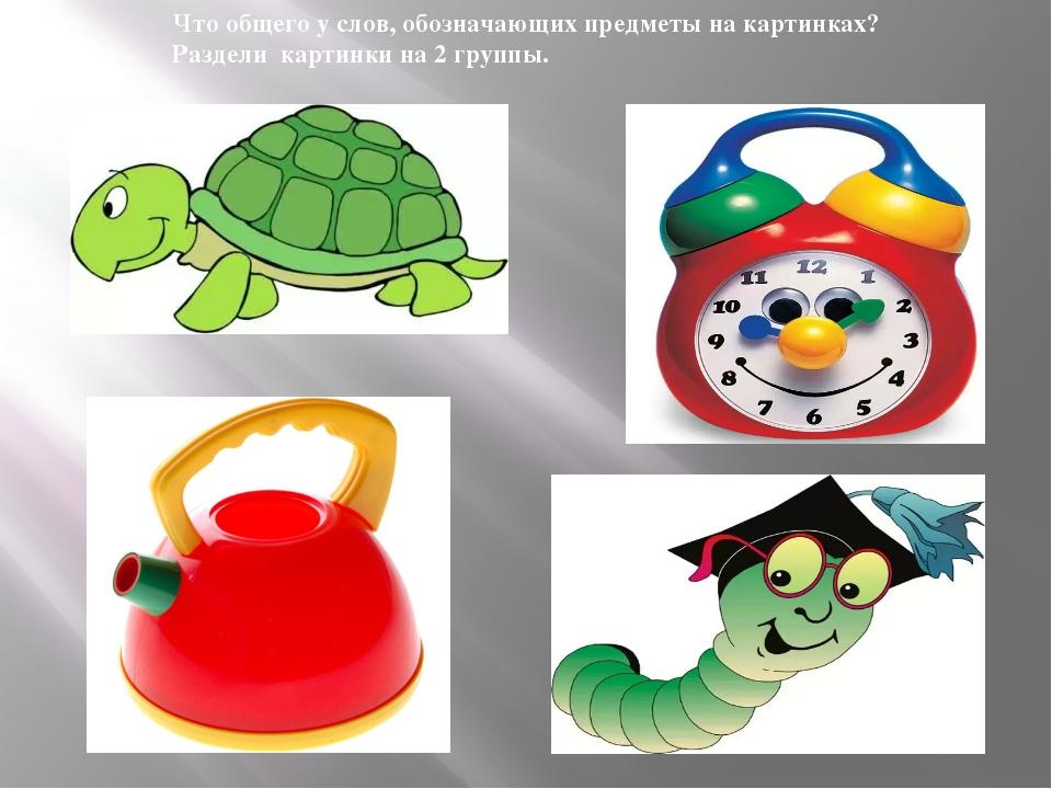 Что общего у слов, обозначающих предметы на картинках? Раздели картинки на 2...