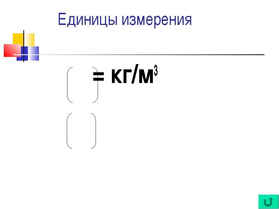 Единицы измерения ρ = кг/м3