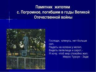 Памятник жителям с. Погромное, погибшим в годы Великой Отечественной войны Го