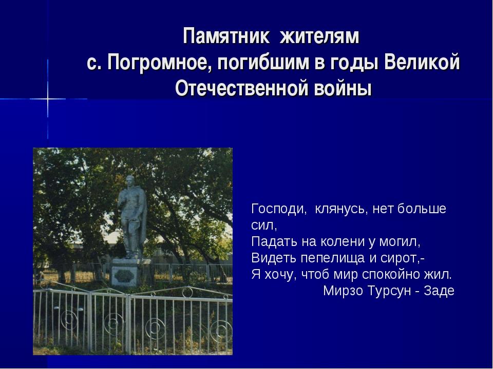 Памятник жителям с. Погромное, погибшим в годы Великой Отечественной войны Го...