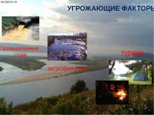УГРОЖАЮЩИЕ ФАКТОРЫ Промышленные стоки эвтрофикация туризм