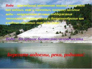 Вода – важнейший компонент многих экосистем как водных, так и наземных, поэто