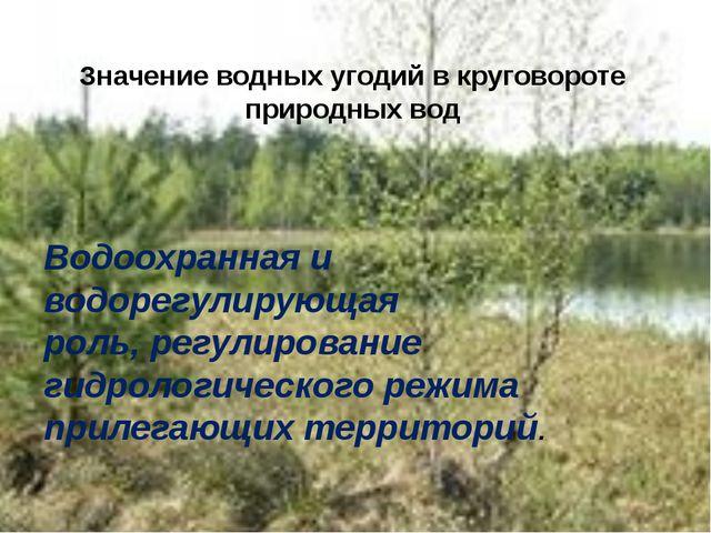 Водоохранная и водорегулирующая роль, регулирование гидрологического режима...