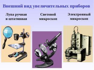 Лупа ручная и штативная Световой микроскоп Электронный микроскоп Внешний вид