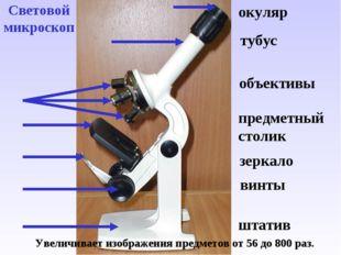 Световой микроскоп Увеличивает изображения предметов от 56 до 800 раз. окуляр