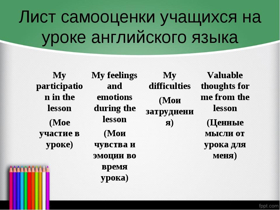 Лист самооценки учащихся на уроке английского языка My participation in the l...