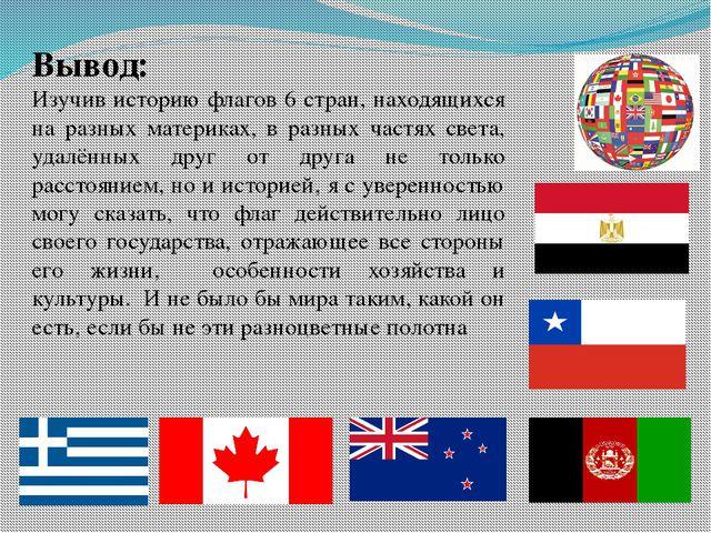 Вывод: Изучив историю флагов 6 стран, находящихся на разных материках, в разн...